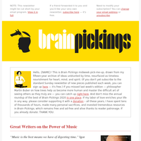 Midweek pick-me-up: Great writers on the singular power of music — Woolf, Whitman, Sacks, Sontag, Vonnegut, Nietzsche, and more