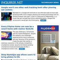Technology News: Google won't use other web tracking tools after phasing out cookies; Every Filipino home can now be a smart home with realme TechLife; Deep Nostalgia app allows users to bring photos to life