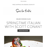 Join Master Chef Scott Conant for an Italian-style spring dinner.