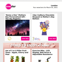 Personalised 'Name a Star' Gift £9   15pc Cadbury Mother's Day Bouquet £18   4* London Hotel Stay & Breakfast for 2    WooHa Brewing Highlands Beer Box £14.99   Easter Egg Rocky Road Biscoff Kit £9.99