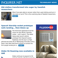 Technology News: Old clothes transformed into sugar by Swedish researchers; SpaceX Starship rocket prototype nails landing... then blows up; Globe 5G Roaming now available in UAE