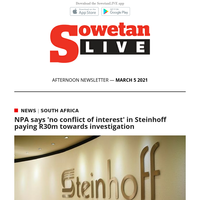 NPA says 'no conflict of interest' in Steinhoff paying R30m towards investigation| Bafana Bafana goalkeeper Itumeleng Khune's sister dies in a fire