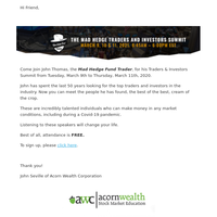 You are invited to the Mad Hedge Traders & Investors Summit
