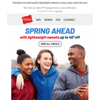 Up to 40% Off Sweatshirts for Spring!