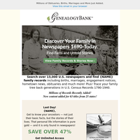Last Day: Find Family Records & Stories 1690-Today – Under $5 with Free E-Book