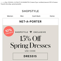 Exclusive 15% Off Spring Dresses at NET-A-PORTER