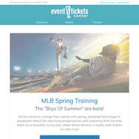 MLB Spring Training, Alton Brown, PBR, Kenny Chesney, and more on sale now!