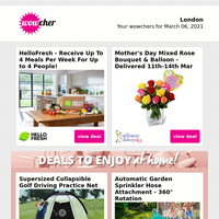 HelloFresh Subscription Box £28   Mother's Day Bouquet & Balloon £18   4* Radisson Blu Durham Stay & Dinner for 2   Boxtails Cocktails Voucher Spend £10   'I Love Cheese' Box £19