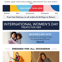 International Women's Day Edit + Mother's Day Gifts. Up to 85% off