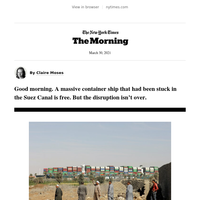 The Morning: The cost of a stuck ship