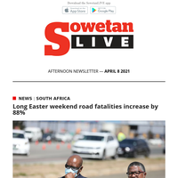 Long Easter weekend road fatalities increase by 88% | Rulani Mokwena: 'if coach Pitso is really honest' I don't think he wants to play against Sundowns'