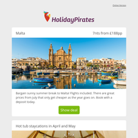 7nts in Malta this summer just £188pp! ☀️🇲🇹 And staycation, staycation, staycations!