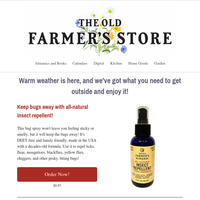 Natural bug spray and retro thermometers available now!