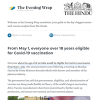 The Evening Wrap: From May 1, everyone over 18 years eligible for Covid-19 vaccination