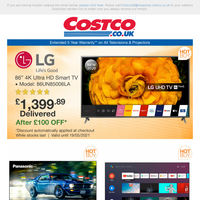 """LG 86"""" 4K UHD Smart TV ONLY £1,399.89 After £100 OFF 