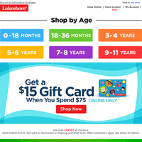 Online Exclusive! $15 Gift Card with Purchase