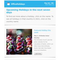 📅 Upcoming Public holidays around the world: May 3 - 9