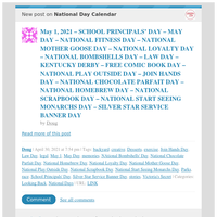 [New post] May 1, 2021 – SCHOOL PRINCIPALS' DAY – MAY DAY – NATIONAL FITNESS DAY – NATIONAL MOTHER GOOSE DAY – NATIONAL LOYALTY DAY – NATIONAL BOMBSHELLS DAY – LAW DAY – KENTUCKY DERBY – FREE COMIC BOOK DAY – NATIONAL PLAY OUTSI