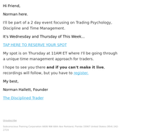 Just announced: Trading Psychology education event