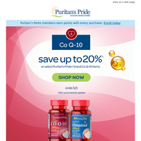 Number 1 in Heart Health. 20% off Co Q-10.