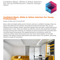 Confident Black, White & Yellow Interiors For Young Professionals: Interior Design Ideas