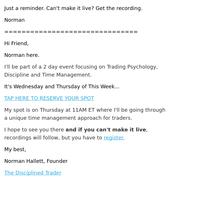 Starts Tomorrow:: Trading Psychology, Discipline, Time Management Event