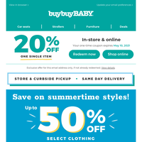 50% off comfy and cute looks for baby + we've activated your 20% coupon.