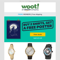 Get a FREE poster when you buy 2 shirts! Plus iPads, grocery, tools, and fitness deals!