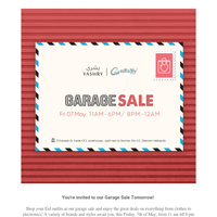 You're invited to our Garage Sale Tomorrow! 💌