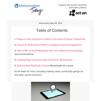 Interactive content for virtual events   Digital customer engagement   Landing page conversion benchmarks   Win the email game   A demand gen playbook