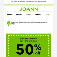 ➡️ 50% off a regular-priced item ends tomorrow!