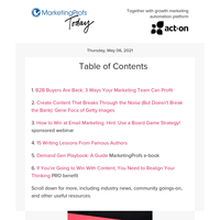 B2B buyers are back   Content that breaks through   Writing tips from famous authors   How to win at email   Demand gen playbook