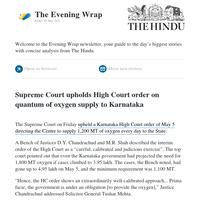 The Evening Wrap: SC upholds HC order on oxygen supply to Karnataka