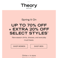 Up to 70% Off + Extra 20% Off Is ON
