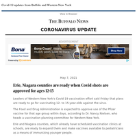 Covid-19: Erie, Niagara counties are ready when Covid shots are approved for ages 12-15