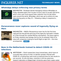 Technology News: WhatsApp delays enforcing new privacy terms; Perseverance rover captures sound of Ingenuity flying on Mars; Bees in the Netherlands trained to detect COVID-19 infections