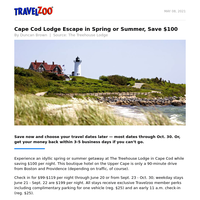 Cape Cod Lodge Escape in Spring or Summer, Save $100