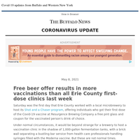 Covid-19:  Free beer offer results in more vaccinations than all Erie County first-dose clinics last week