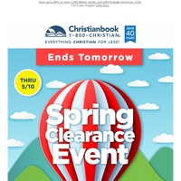 Ends Tomorrow: Spring Clearance Event