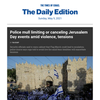 As violence rises, cops may limit J'lem Day events * Analysis: City on fire * Court delays eviction hearing * Bennett, Lapid race to form gov't  * Ancient lamp's 2nd half?