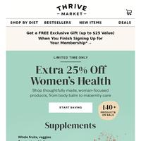 Extra 25% off women's health essentials ♀️