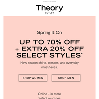 Up to 70% Off + Extra 20% Off