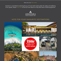 Vote for us in the Condé Nast Traveler Readers' Choice Awards 2021