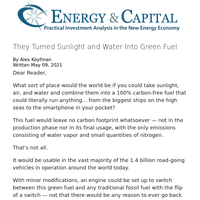 They Turned Sunlight and Water Into Green Fuel