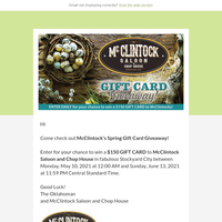 Enter the McClintock's Spring Gift Card Giveaway for your chance to win!