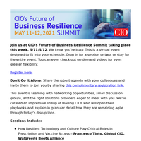 Last Chance to Join: CIO's Future of Business Resilience Summit Kicks Off Tomorrow