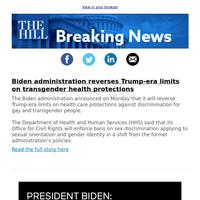 Breaking News: Biden administration reverses Trump-era limits on transgender health protections