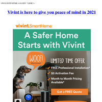 Free Installation* with Purchase of a Vivint Home Security System this Spring