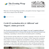 The Evening Wrap: Covid-19 vaccination drive is 'different' and 'biggest', claims govt in SC