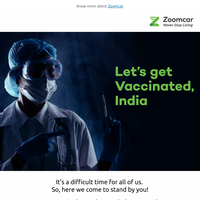 Ride safely to the vaccination centre with Zoomcar! Also, get health vouchers
